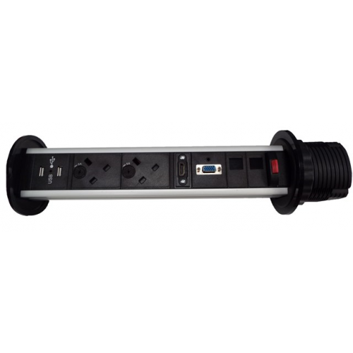 CR Pull Up Power Units Vertical with 2 x UK Socket Power - 2 x Cat6 Data - 1 x SVGA - 1 x HDMI -1 x 3.5mm Stereo Audio  Black/Silver  - Power Leads Required (Each)