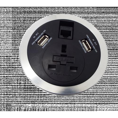 CMW Ltd  | ALGAR In Desk Module  1 x 13A UK Power - 2x USB Socket - 1 x Cat6 Data Module 80mm Cut Out 3m Assembly Grey