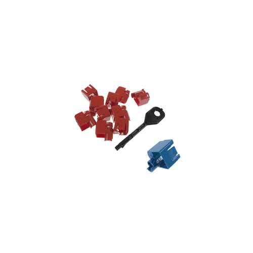 CMW Ltd    RJ45 Port Locking Clips Blue (Pack of 10)