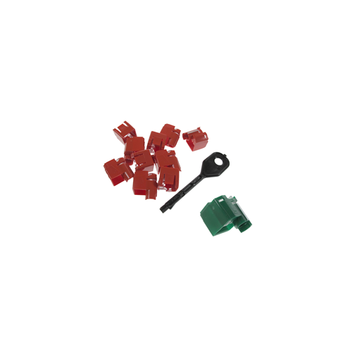 RJ45 Port Locking Clips Green (Pack of 10)
