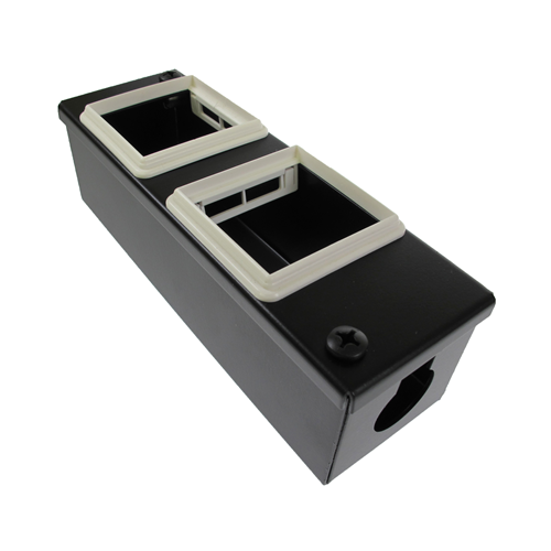 CMW Ltd    4 Way Euromod Collared 50x25 POD / GOP Box 55mm Deep 25mm Entry- Black- Each