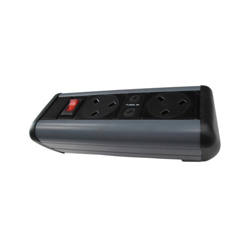 CMW Ltd Desk Cable Management   2 Way Power Only Desktop Unit