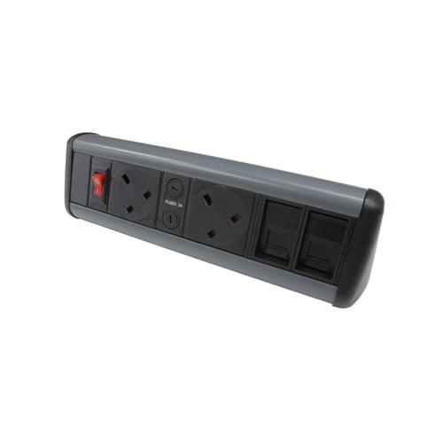 CMW Ltd Desk Cable Management   2 x Power & 2 x Cat6 Data Desktop Unit