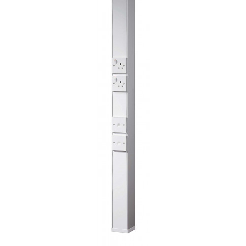 White Power Pole with 6 outlet boxes (Each)