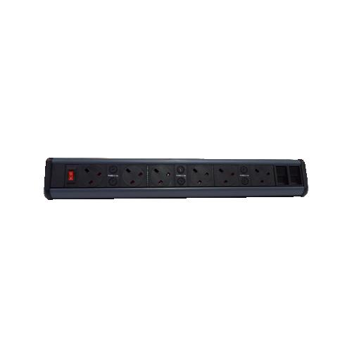CMW Ltd Desk Cable Management   6 x Power & 2 x Cat6 Data Desktop Unit