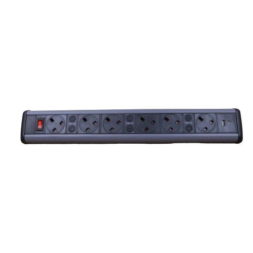CMW Ltd Desk Cable Management   6 Power, 2 x USB Desktop Unit
