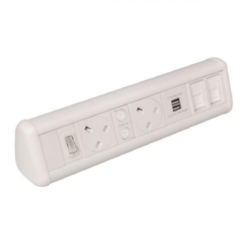 White 2 Power 1 x Dual USB 2 x Cat6 Coupler