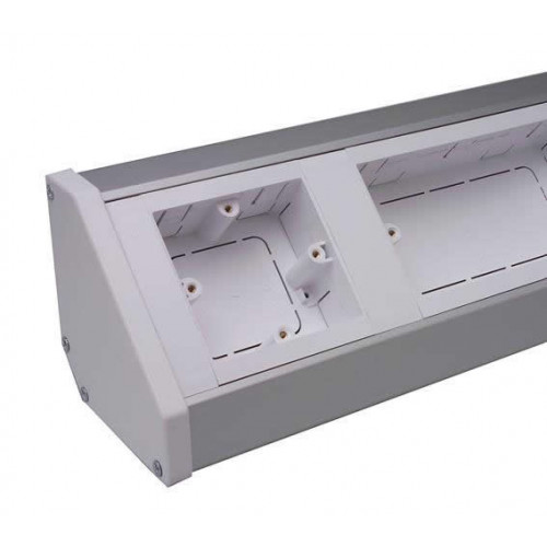 CMW Ltd Angled Bench Trunking | Marco Bench Trunking body with lid, 2m length,  100mm x 100mm,