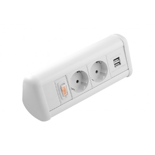 CR Power Pack Desk Top Units - 2 x Schuko Power Sockets , 1 x Dual 3.4A USB & Master Switch