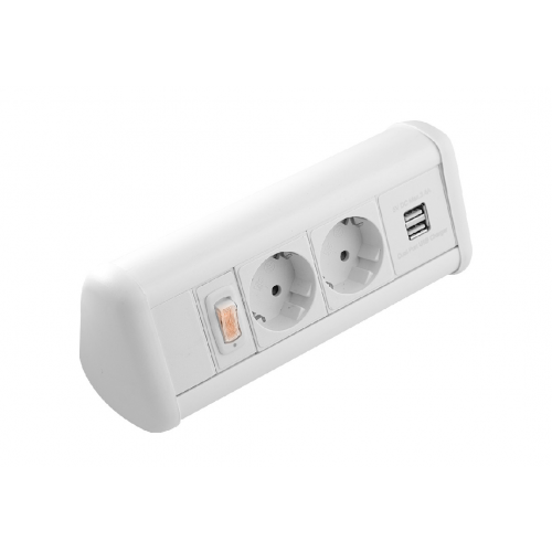 CMW Ltd    CR Power Pack Desk Top Units - 2 x Schuko Power Sockets , 1 x Dual 3.4A USB & Master Switch