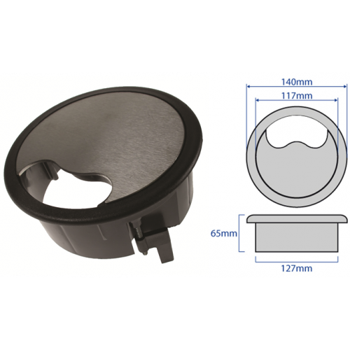 CMW Ltd    Black Trim Stainless Steel Cable Grommet 127mm Cut Out
