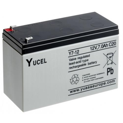 YUCEL 12v7amp back up battery. For use with 12v PSU's. for 24v use 2 batteries