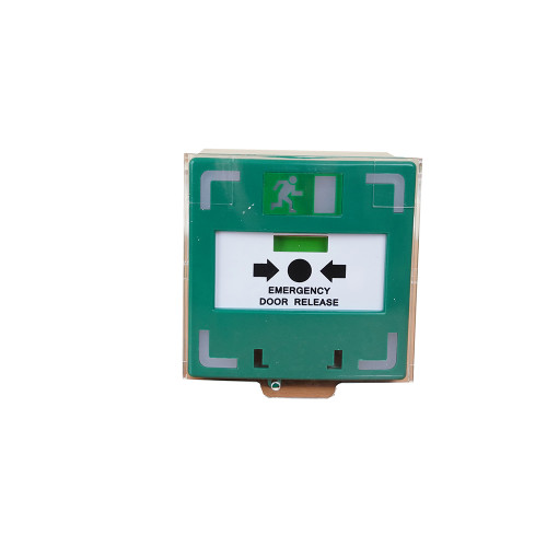 Green resettable surface mount triple pole break glass with sounder, LED and protective lift up cover