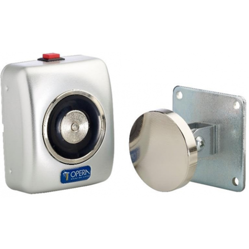 24Vdc surface wall mounted door retaining magnet with manual release button. silver coloured finish