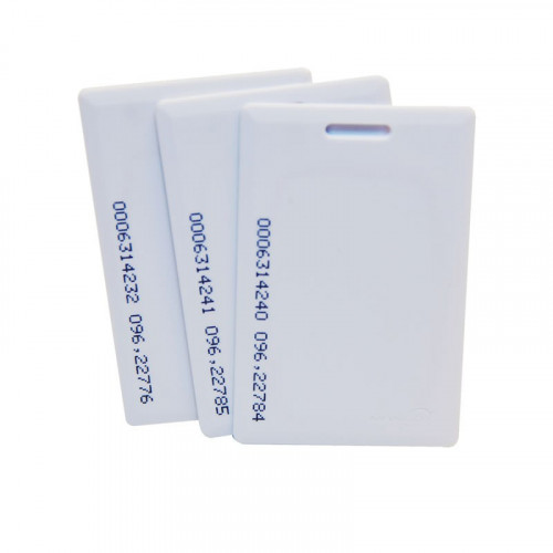 Numbered EM format clam shell white card. read/write capability. Slotted for use with a lanyard. Single card supplied.
