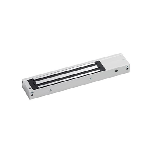 Slim, compact design unmonitored maglock. 12/24Vdc. 275kg/600lb holding force. Silver anodised aluminium finish