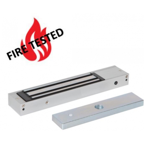 Slim, compact design fire rated unmonitored maglock. 12/24Vdc. 275kg/600lb holding force. Silver anodised aluminium finish
