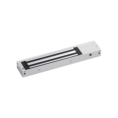 Slim, compact design door status monitored maglock. 12/24Vdc. 275kg/600lb holding force. Silver anodised aluminium finish