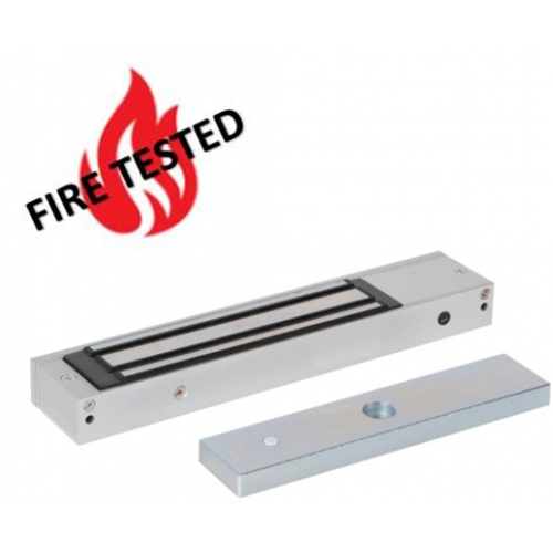 Slim, compact design fire rated lock monitored maglock. 12/24Vdc. 275kg/600lb holding force. Silver anodised aluminium finish