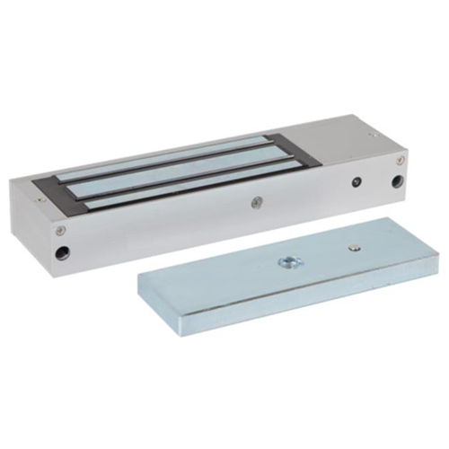 Standard fire rated unmonitored maglock 12/24Vdc. 545kg/1200lb holding force. Silver anodised aluminium finish