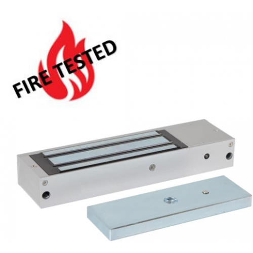 Standard fire rated lock monitored maglock 12/24Vdc. 545kg/1200lb holding force. Silver anodised aluminium finish