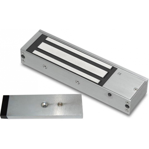 Standard lock and door status monitored maglock. 12/24Vdc. 275kg/600lb holding force. Silver anodised aluminium finish