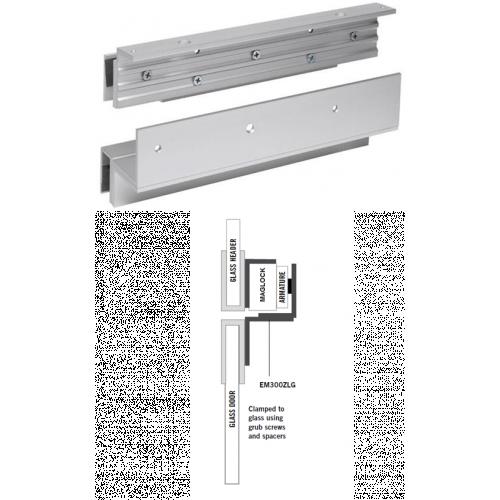 Glass door Z & L bracket for slim maglock. Fully adjustable. Integrated glass door saddle. Shims included