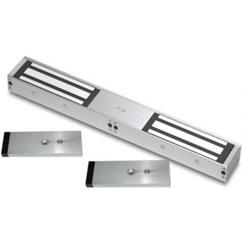 Double standard lock and door status monitored maglock. 12/24Vdc. 545kg/1200lb total holding force. Silver anodised aluminium finish