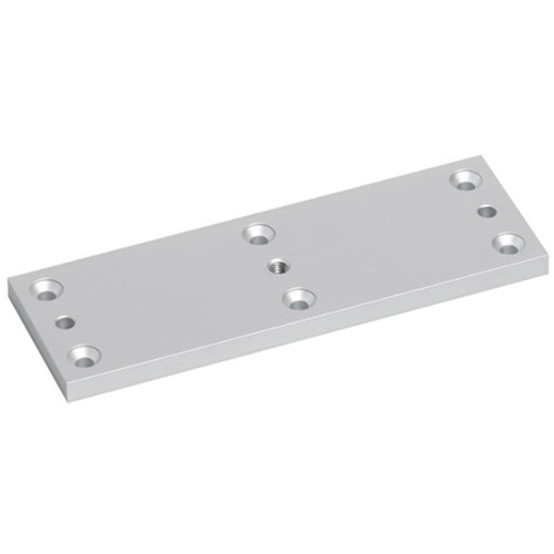 Armature surface mounting plate for standard size EM maglock. Silver anodised aluminium finish