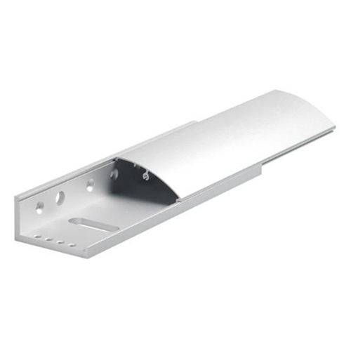Fully adjustable covered L bracket for standard size EM maglock. Silver anodised aluminium finish. Architectural design