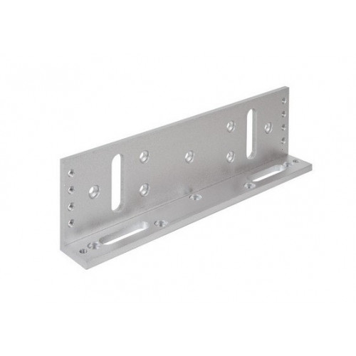 Fully adjustable L bracket for standard size EM fire rated maglock. Silver anodised aluminium finish