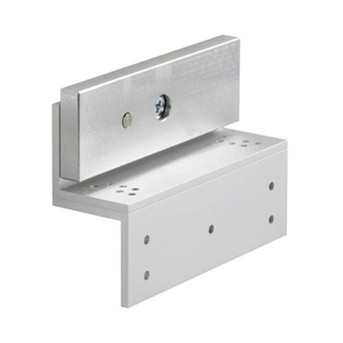 Fully adjustable Z bracket for standard maglock. Enables horizontal adjustment. Silver anodised aluminium finish
