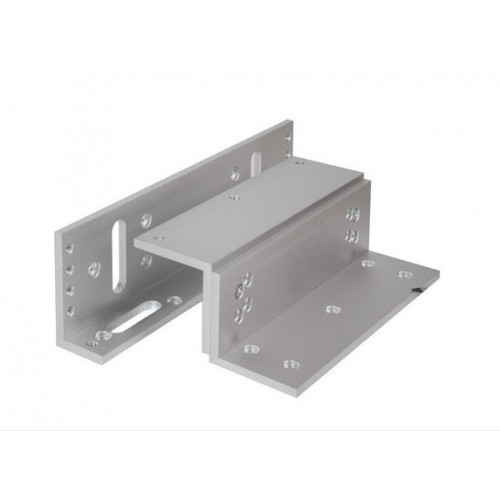 Fully adjustable Z & L bracket for standard size EM fire rated maglock. Silver anodised aluminium finish