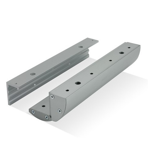 Double covered Z & L bracket for standard EM maglock. Architectural design. Silver anodised aluminium finish