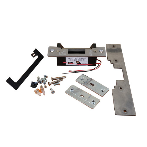 Universal ANSI style electric release/strike. 12/24Vdc. Includes long & short faceplate.