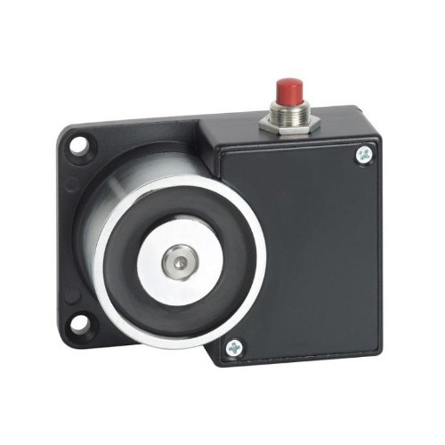 12Vdc surface wall mount door retaining magnet with manual release button. Black powder coated finish