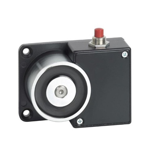 24Vdc surface wall mount door retaining magnet with manual release button. Black powder coated finish