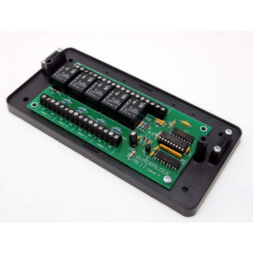 4 door interlock board. 12Vdc input. Housed in a large relay box