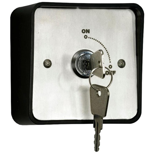 Weatherproof IP54 rated surface or flush mount key switch with 2 keys. Maintained action