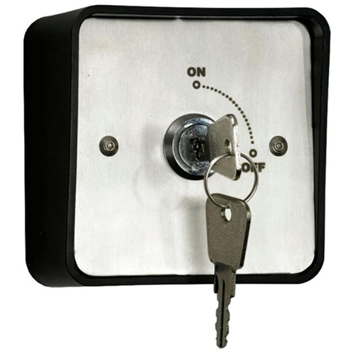 Weatherproof IP54 rated surface or flush mount key switch with 2 keys. Momentary action