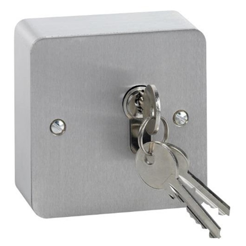 Stainless steel euro profile key switch surface mount. momentary action. Cylinder not included