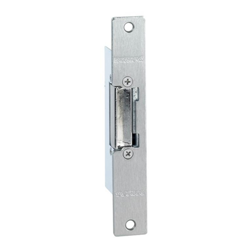 12Vdc euro style mortice electric release/strike. Fail safe. Fixed jaw. Includes long faceplate