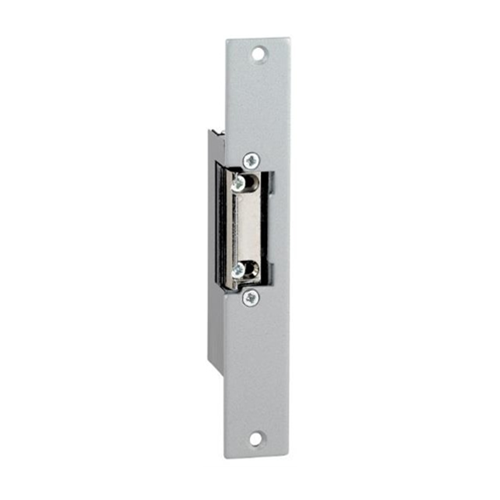 12Vdc euro style mortice monitored electric release/strike. Fail safe. Fixed jaw. Includes long faceplate