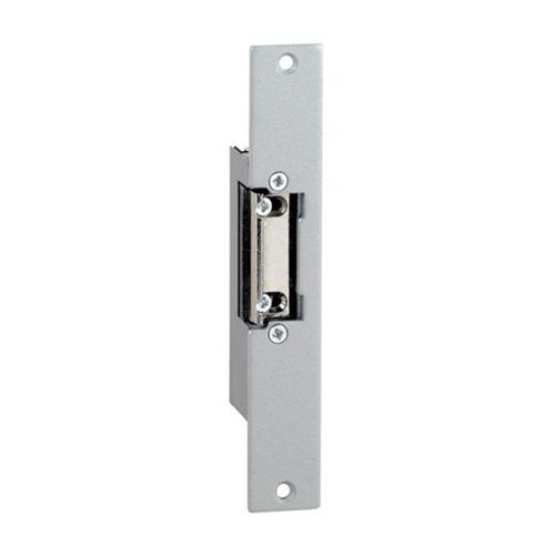 12Vdc euro style mortice electric release/strike. Fail secure. Fixed jaw. Includes long faceplate