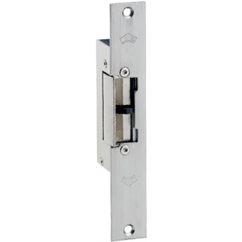 12Vdc euro style mortice monitored electric release/strike. Fail secure. Fixed jaw. Includes long faceplate