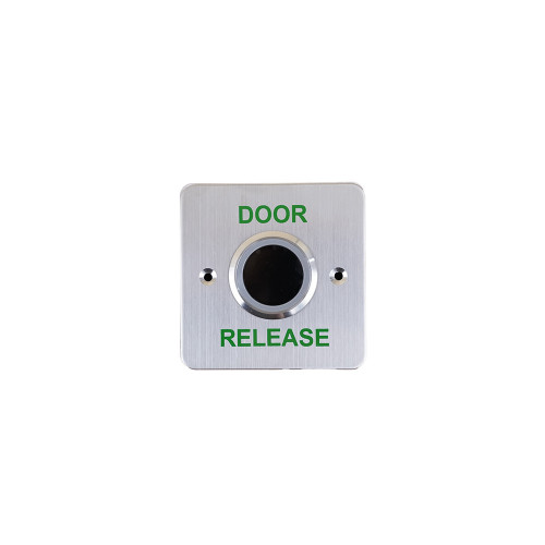 Surface mount no touch infrared single gang exit button with adjustable proximity range and LED button halo. Stainless steel faceplate and surface shroud. Printed DOOR RELEASE