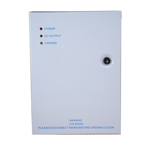 12Vdc 2 amp power supply unit in lockable hinged cabinet. LED indicators. Backup battery facility - battery not included