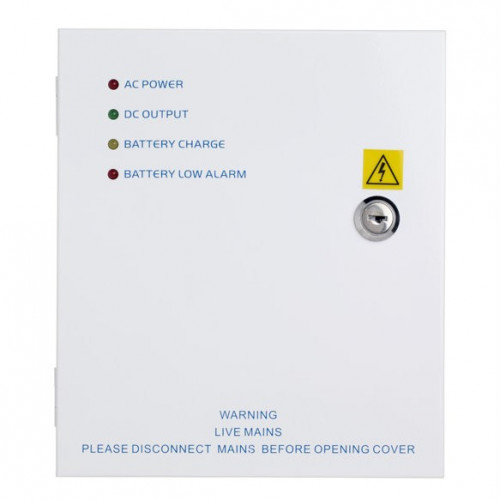 12Vdc 5 amp power supply unit in lockable hinged cabinet. LED indicators. Backup battery facility - battery not included
