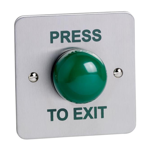 Flush mount green dome single gang exit button. Stainless steel faceplate, engraved PRESS TO EXIT