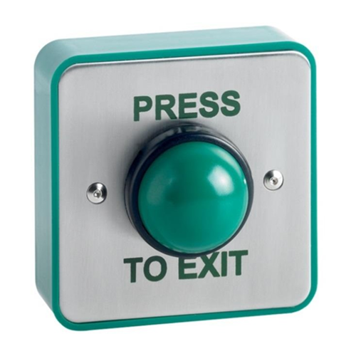 Surface green dome exit button. Stainless steel faceplate, green surface box. IP66 rated weatherproof button switch. Printed PRESS TO EXIT
